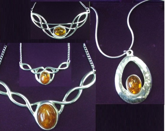 These stunning pendants make excellent gifts - only $65 each, with the option of matching earrings ($120 for a set). Six gemstones available.